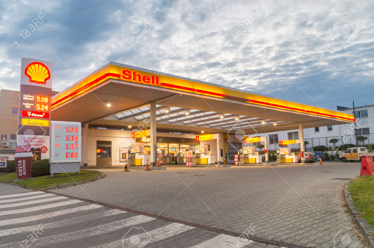 Zgorzelec, Poland - June 2, 2021: Shell gas station during sunrise. Royal Dutch Shell plc, commonly known as Shell, is a British-Dutch multinational oil and gas company. - 171808307