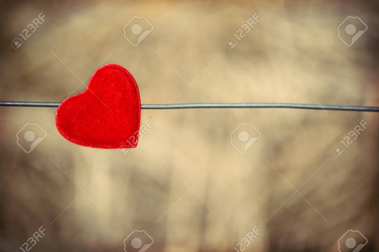 Single red heart on wire with background of dry grass. Stock Photo - 12365923