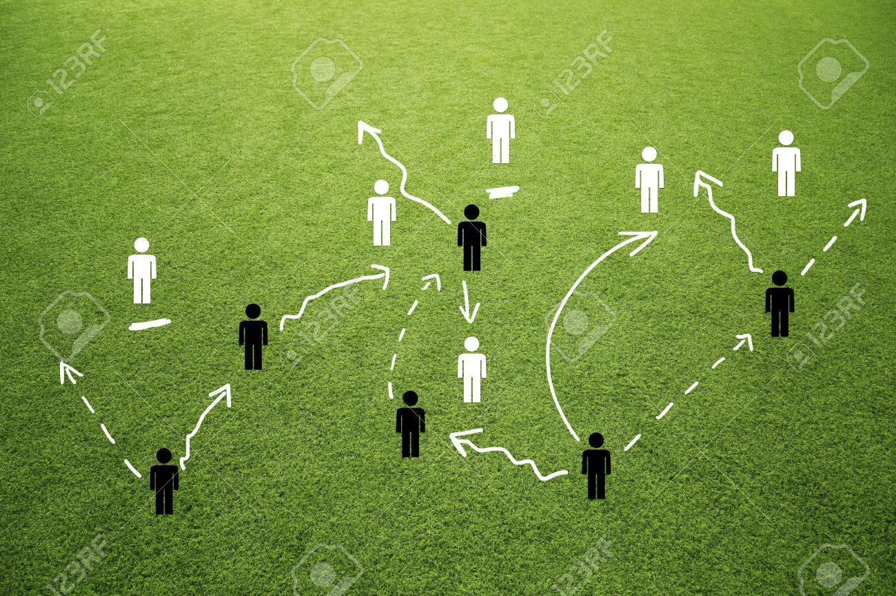 Soccer Game Team Play Strategy Plan Concept Soccer Or Football