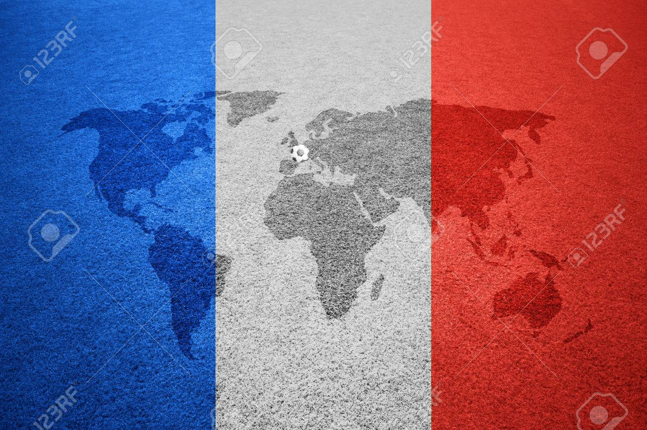 Soccer field with world map europe caption and small soccer ball soccer field with world map europe caption and small soccer ball on france flag colored background gumiabroncs Gallery