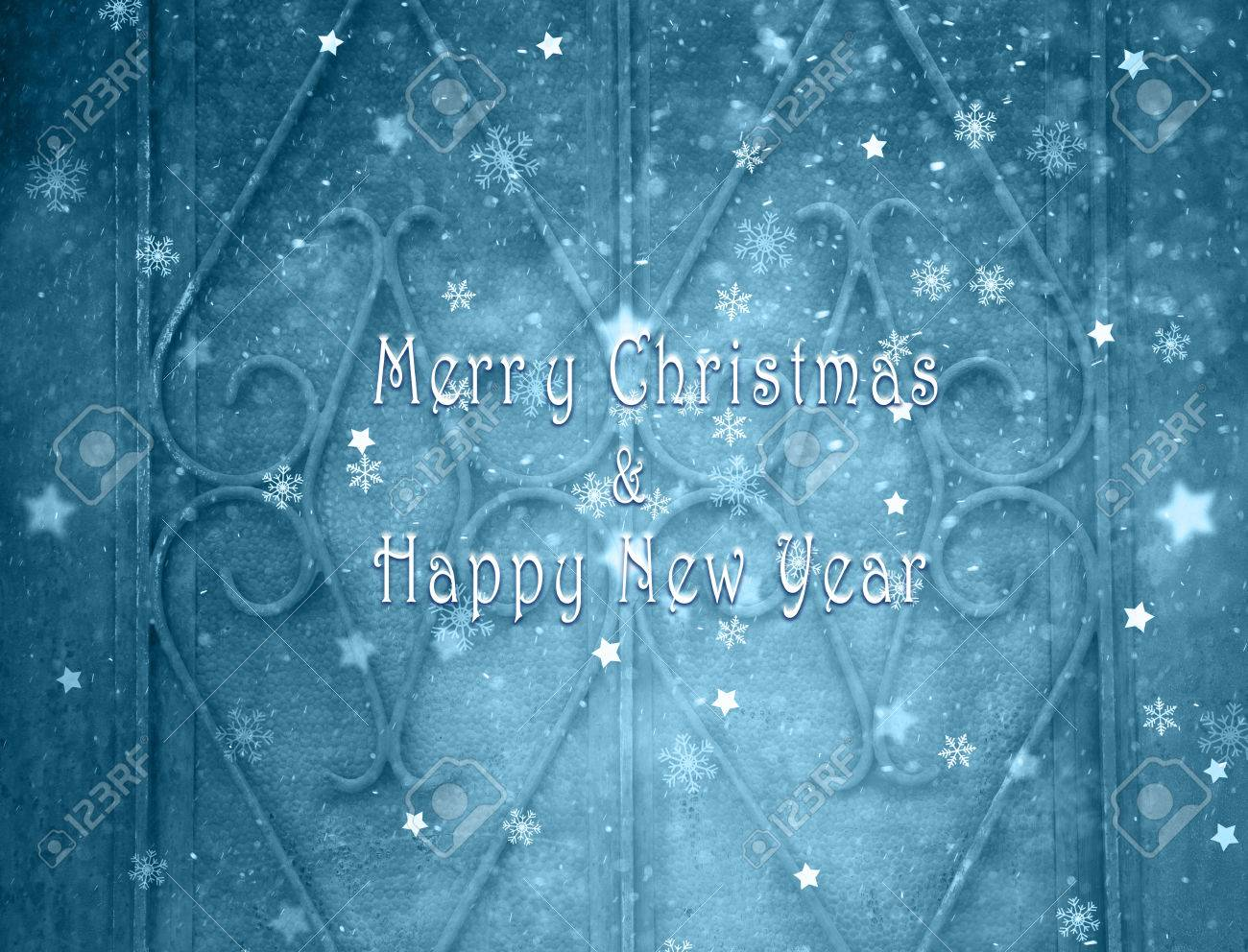 merry christmas and happy new year greeting card message on old house door details background with