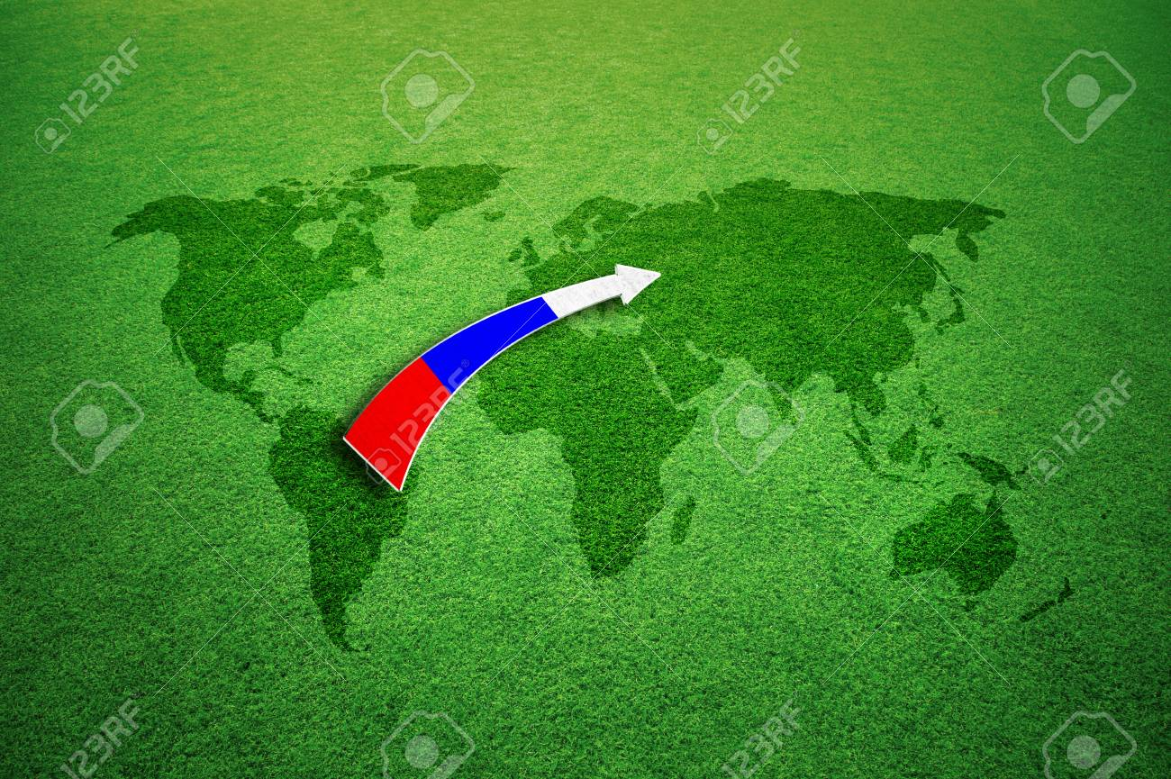 Soccer game background with grass textured world map and illustrated soccer game background with grass textured world map and illustrated russia flag pattern arrow stock gumiabroncs Gallery