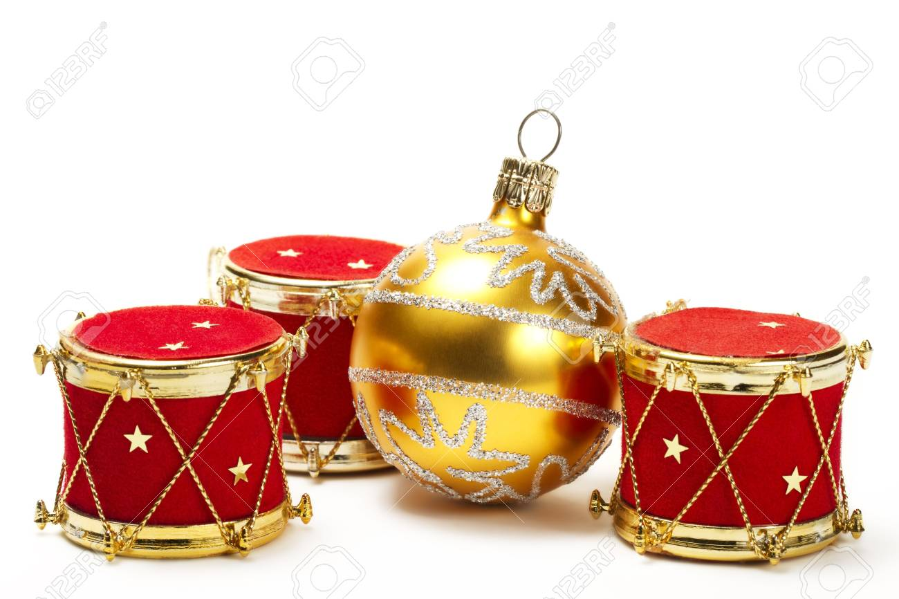 Christmas Ball And Red Drum Ornaments On White Background Stock ...