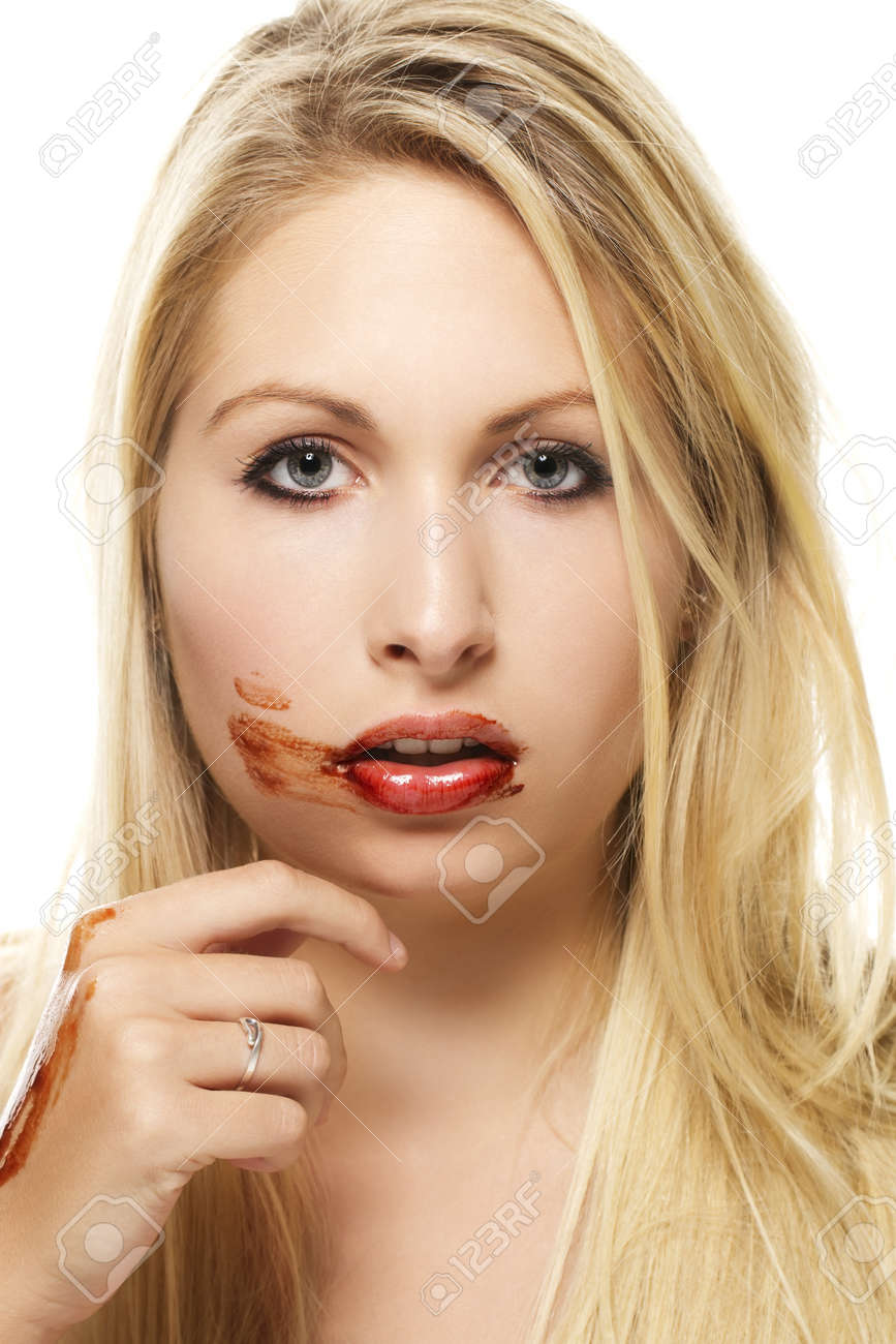 Beautiful Blonde Woman After Eating Chocolate On White Background ...
