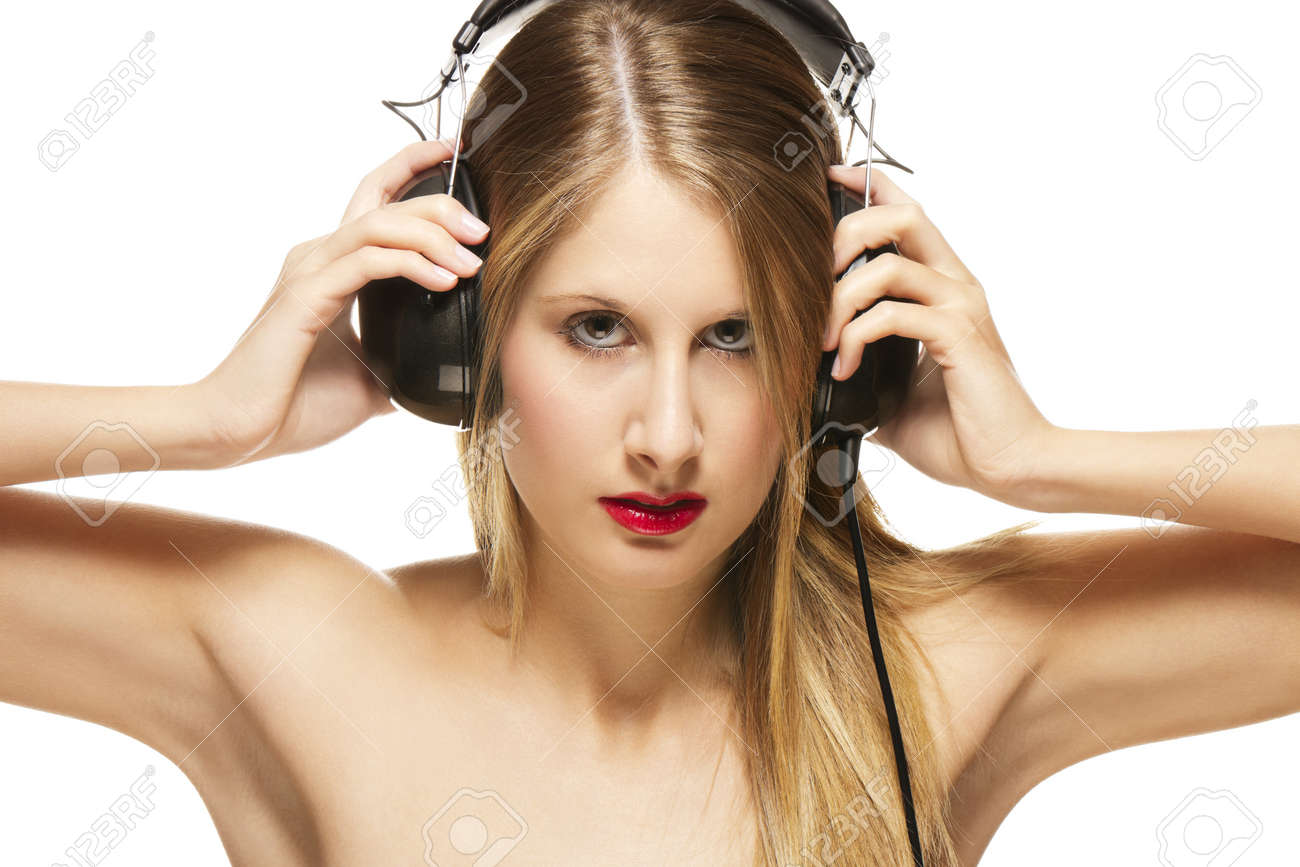 beautiful woman with headphones spreading her arms on white background Stock Photo - 11395724