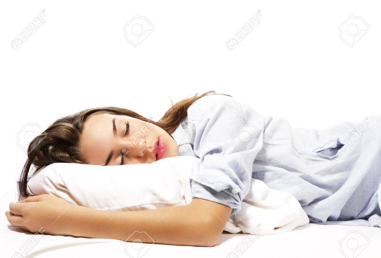 beautiful sleeping woman in pajamas on white background Stock Photo - 11975473
