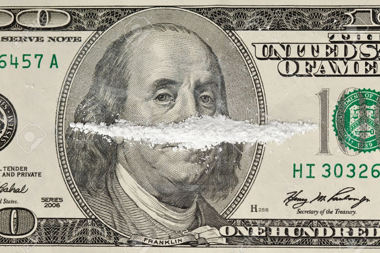 A 100 Dollar Bill With A Line Of White Powder And On It. Stock Photo ...