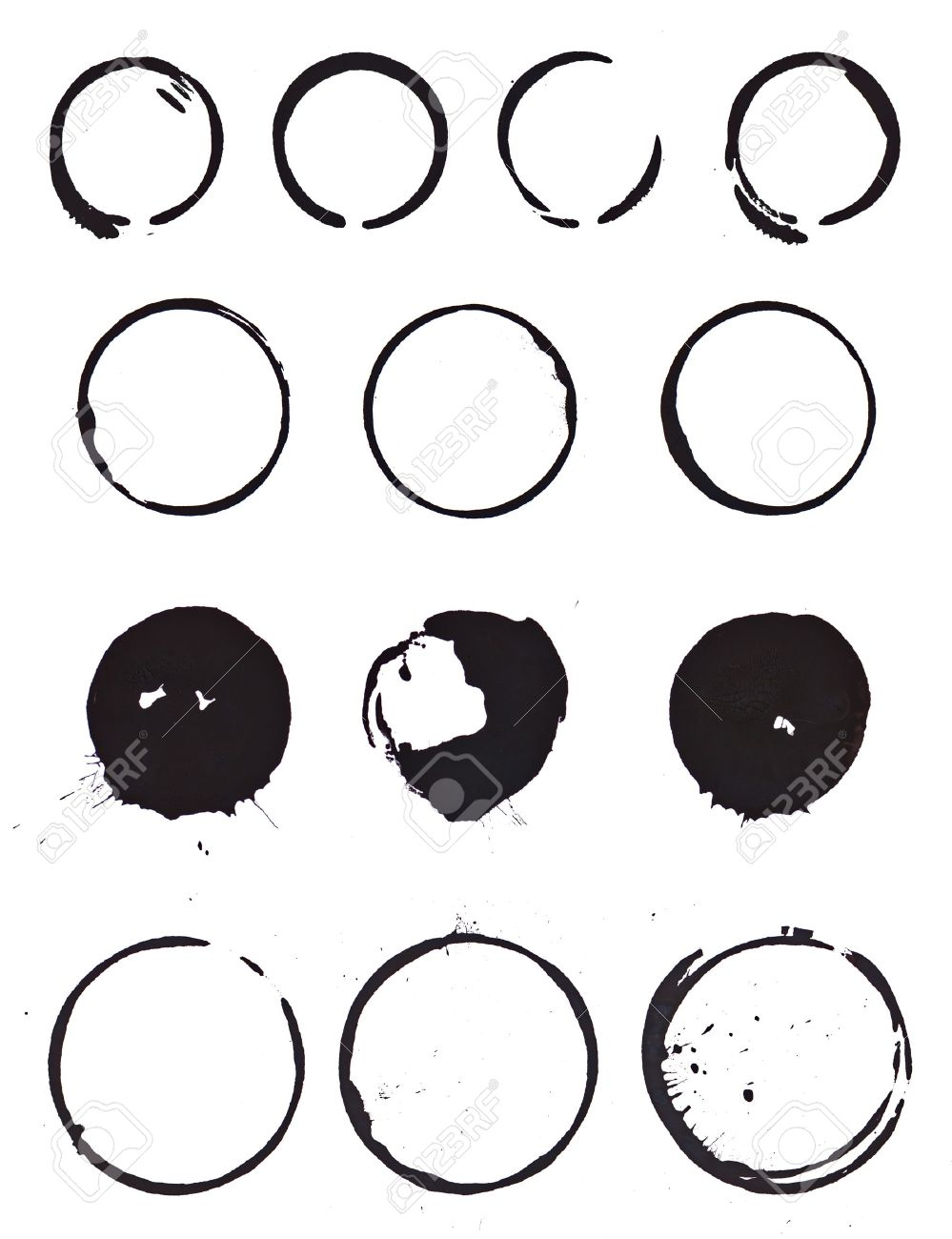 Various Mug Stain Rings From 4 Sets Of Coffee Mugs Done With.. Stock ...