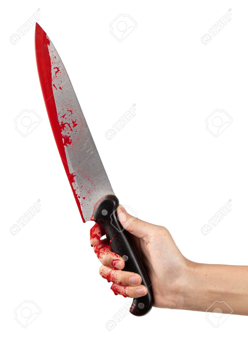 A hand holding a large blood covered knife on a white isolated background. Stock Photo - 13418213