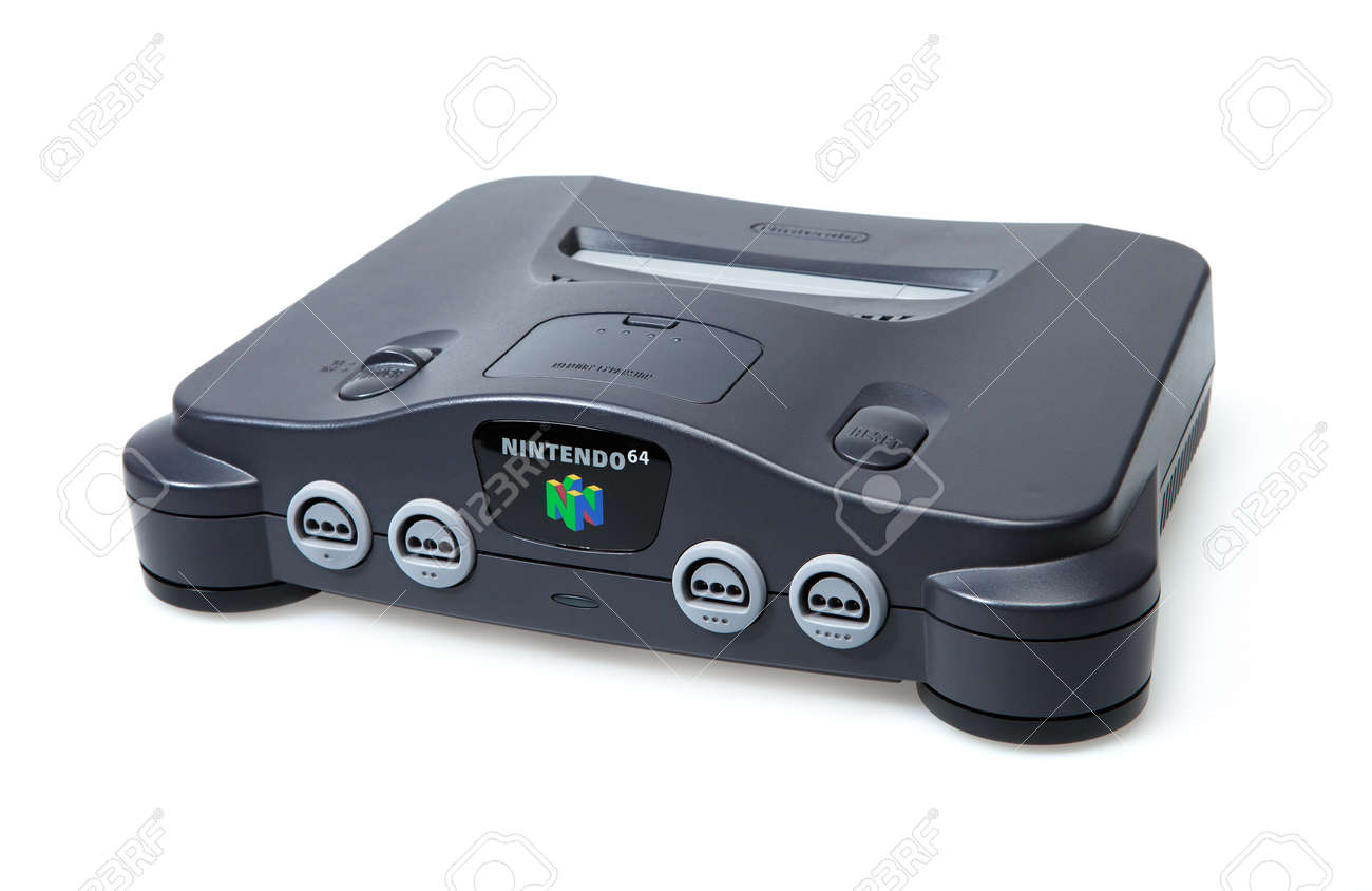 Toronto, Canada - September 10, 2012: This is a studio shot of a Nintendo 64 game console isolated on a white background. Stock Photo - 16205587
