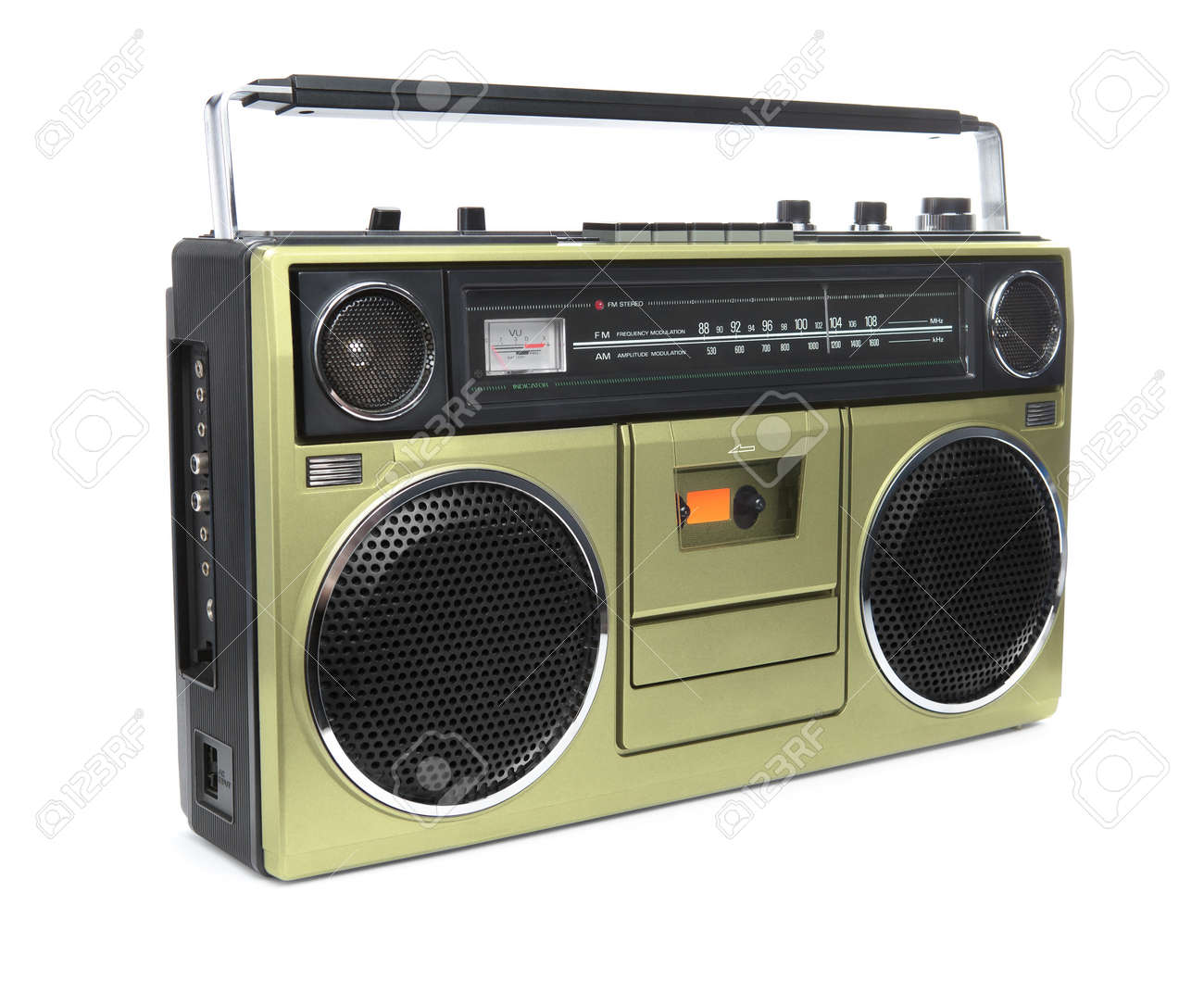 A stylish gold boombox radio from the 1970's isolated on white. Stock Photo - 17308964