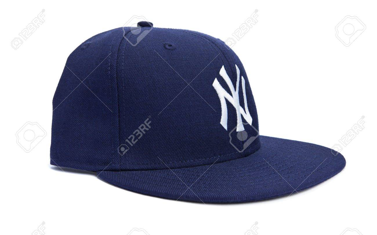 Taipei, Taiwan - December 17, 2012: This is a studio shot of a blue New York Yankees hat made by New Era isolated on a white background. Stock Photo - 17298832