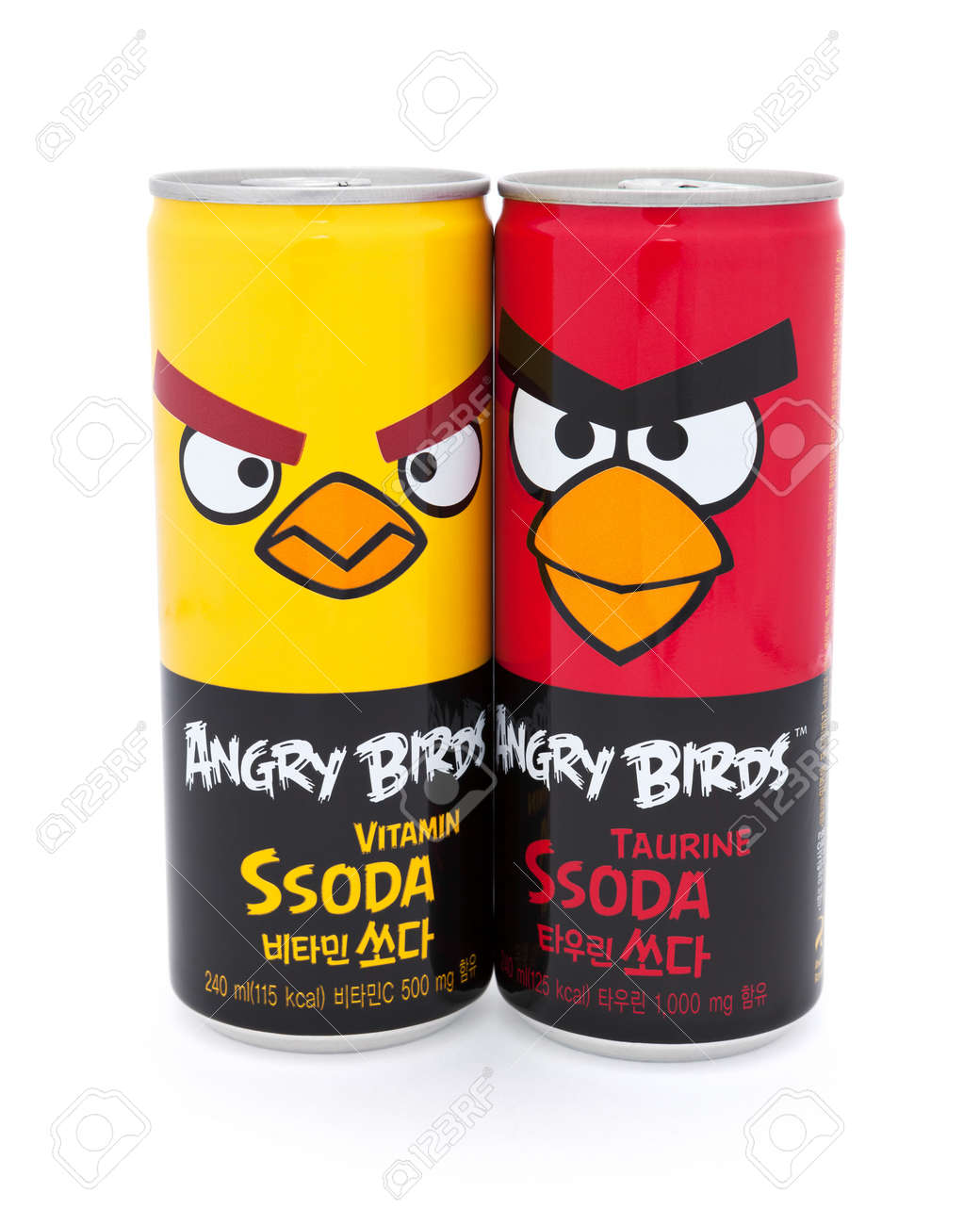 Taipei, Taiwan - January 8, 2012: This is a studio shot of two cans of Angry Birds beverages made by the Korean company Paldo isolated on white. Stock Photo - 17465222