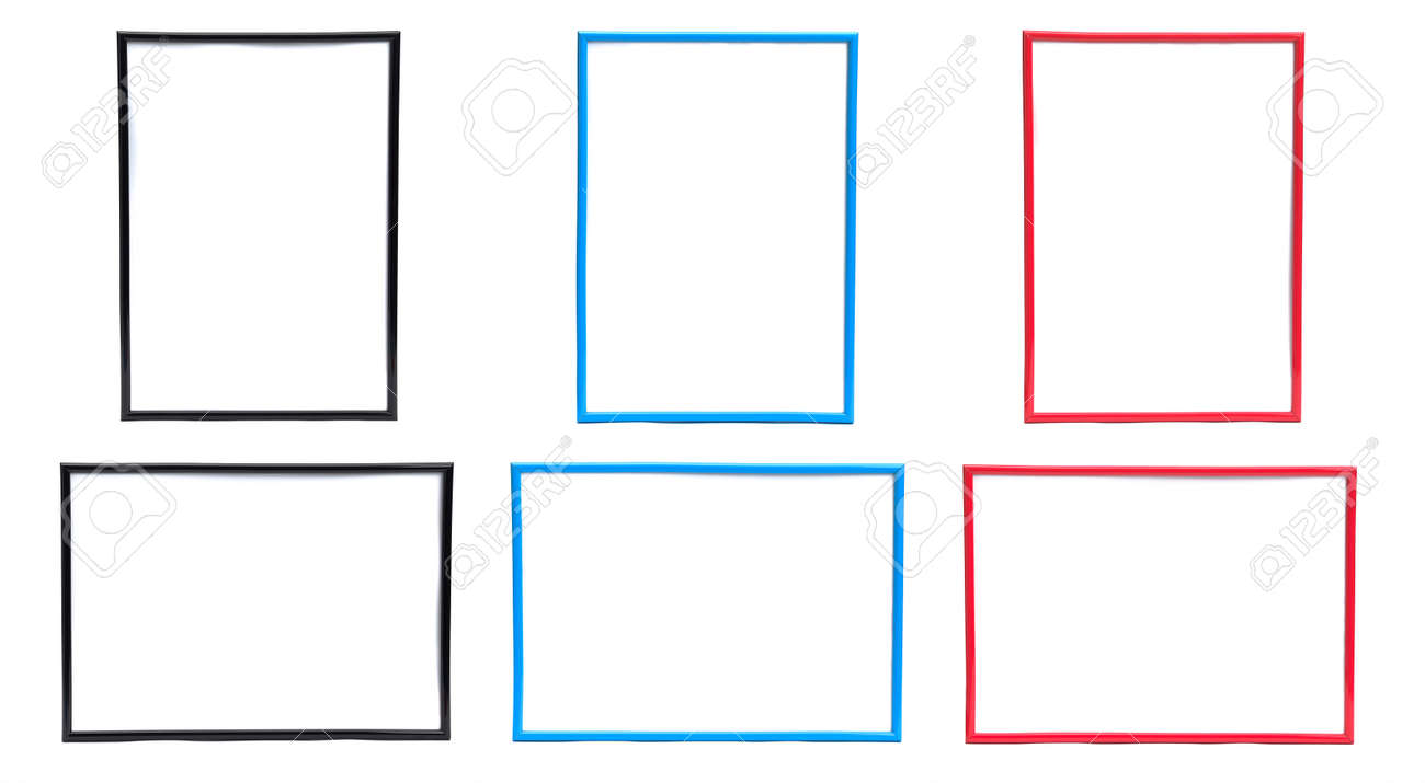 Three Sets Of Picture Frames In Horizontal And Vertical Positions