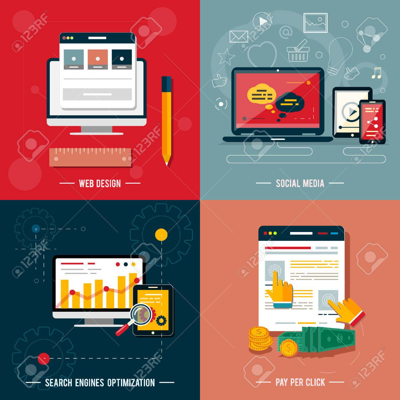 Icons For Web Design Seo Social Media And Pay Per Click Internet Royalty Free Cliparts Vectors And Stock Illustration Image 25835147