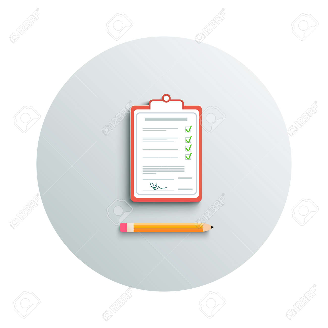 Detailed modern app icon of clipboard and pencil business concept on white background. Office and business work elements Stock Vector - 28592742