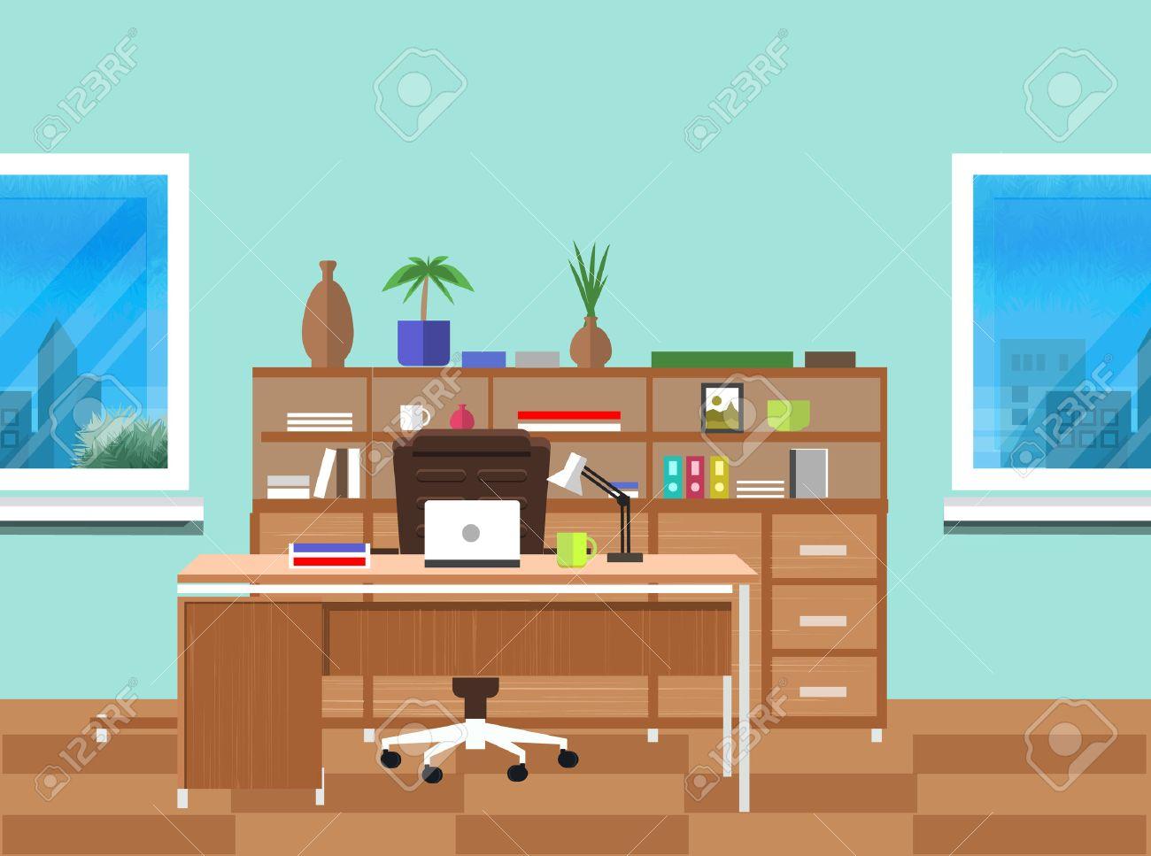 intérieur de bureaux moderne avec bureau design dans la conception