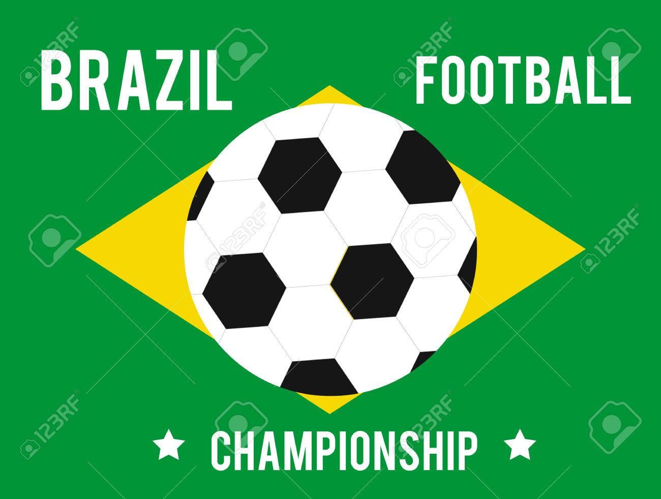 Brasil mapa con los colores de la bandera con el balón de fútbol y el texto 82eb9ab908472