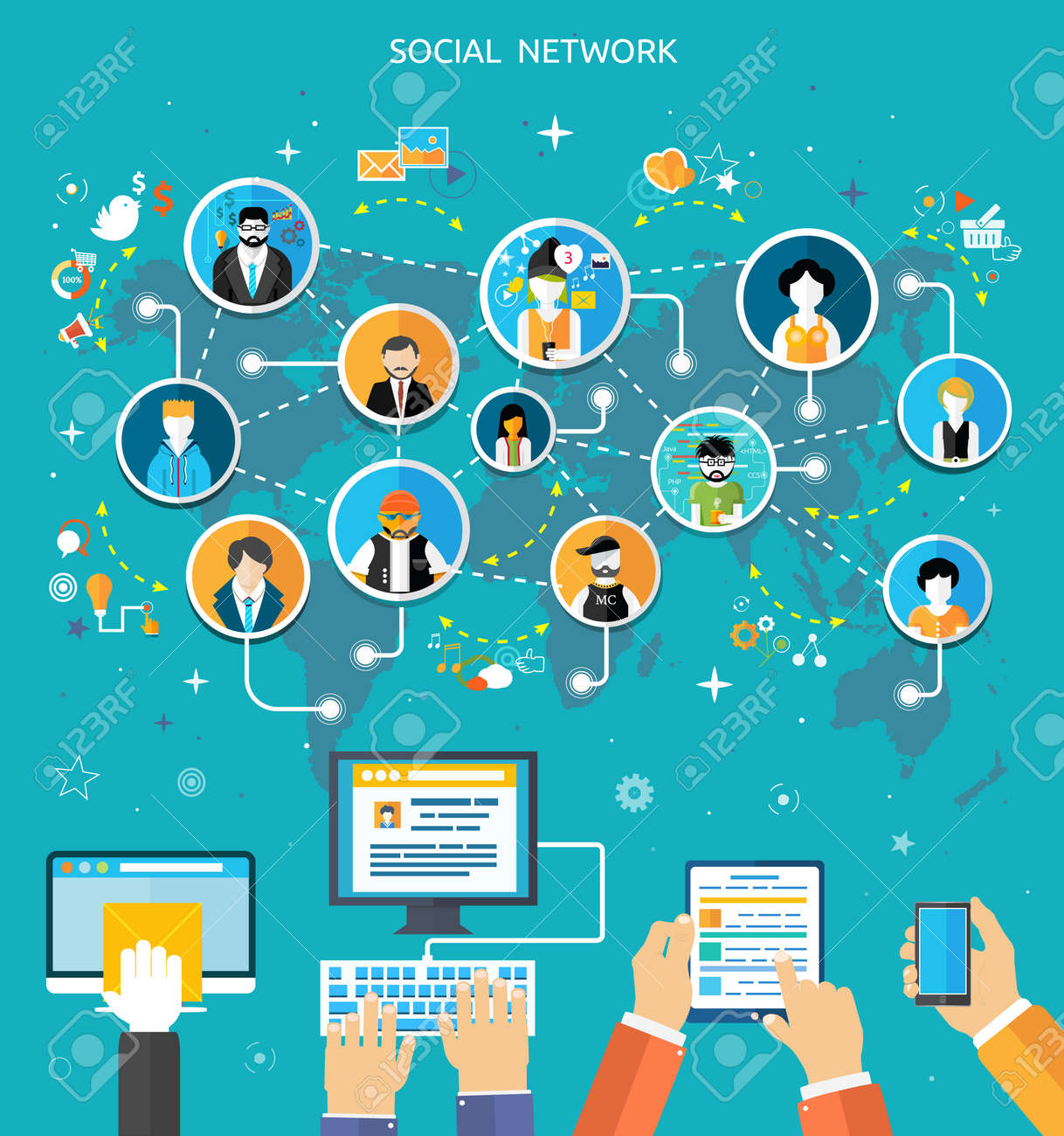 Social media network connection concept. People in a social network. Concept for social network in flat design. Globe with many different people's faces - 31706586