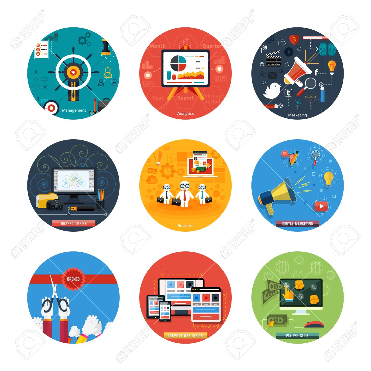 Icons For Web Design Seo Social Media And Pay Per Click Internet Royalty Free Cliparts Vectors And Stock Illustration Image 31706704