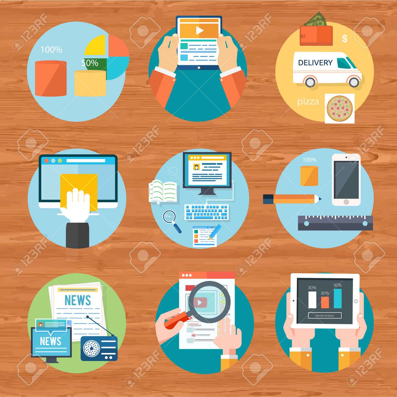 1ad7d05b0b5a84 Internet-Shopping-Prozess von Einkauf und Lieferung. Online-Geschäft  verkaufen Symbole.