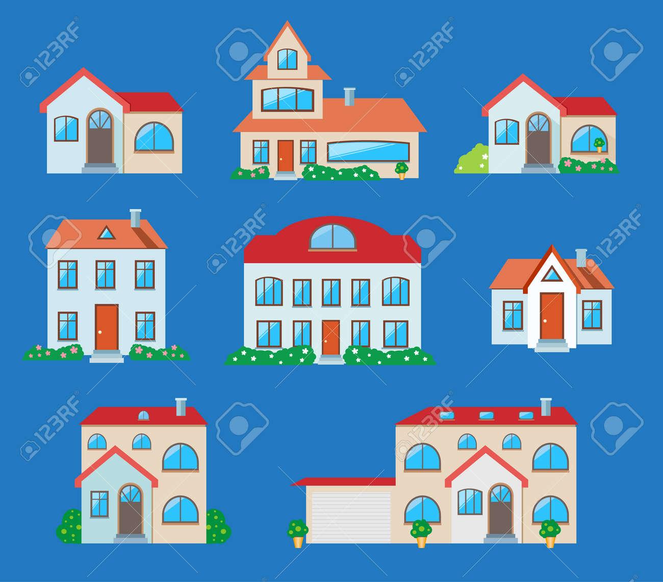 casas iconos conjunto. bienes raíces en estilo de dibujos animados ... - Bienes Inmuebles Dibujos