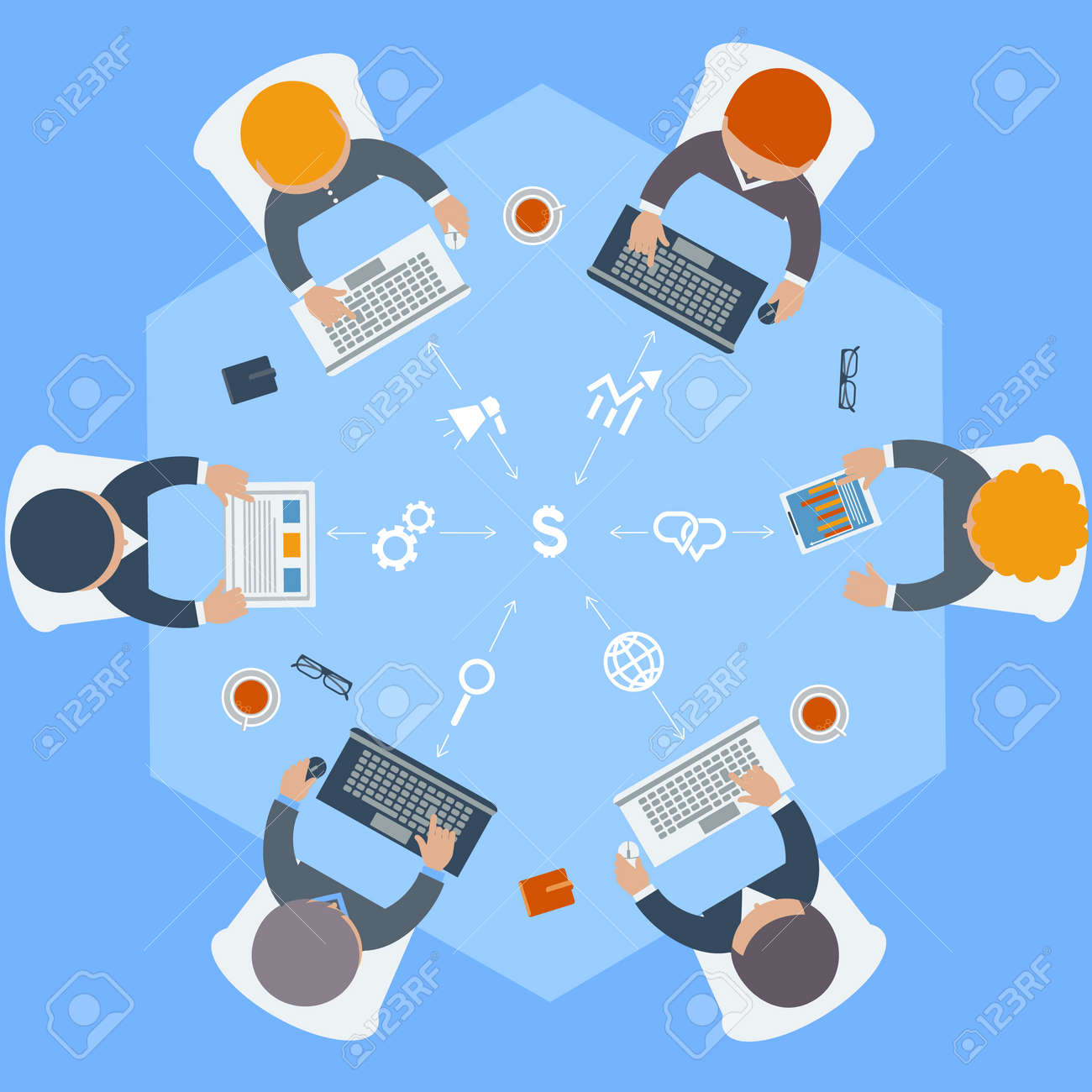 Round table meeting icon - Office Teamwork Workers Business Management Meeting And Brainstorming On Round Table In Top View Flat Design