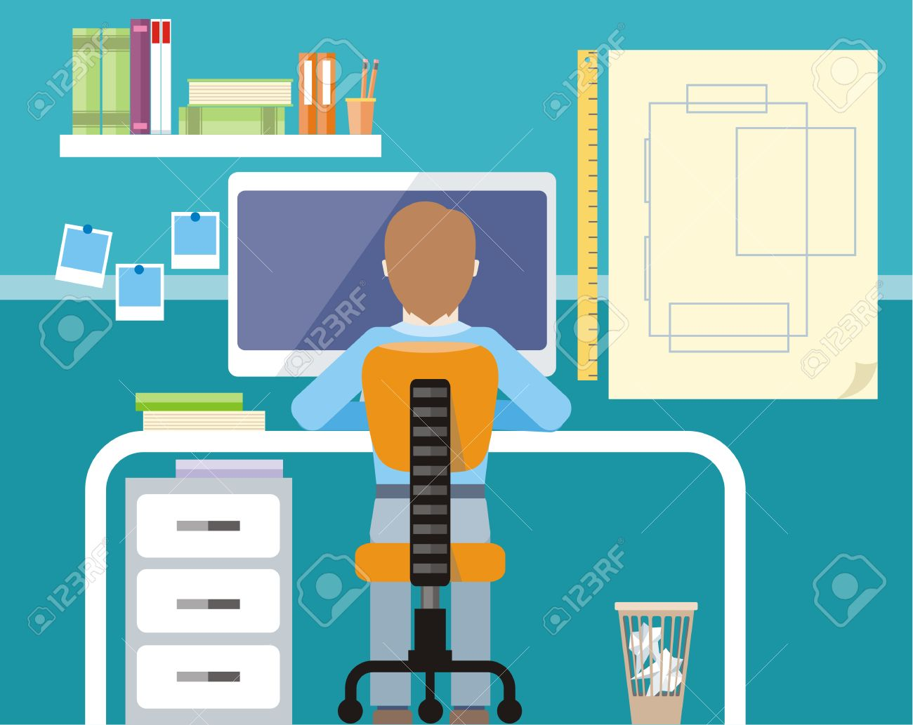 Engineer Sitting On Chair At Table In Front Of Computer Monitor And ...