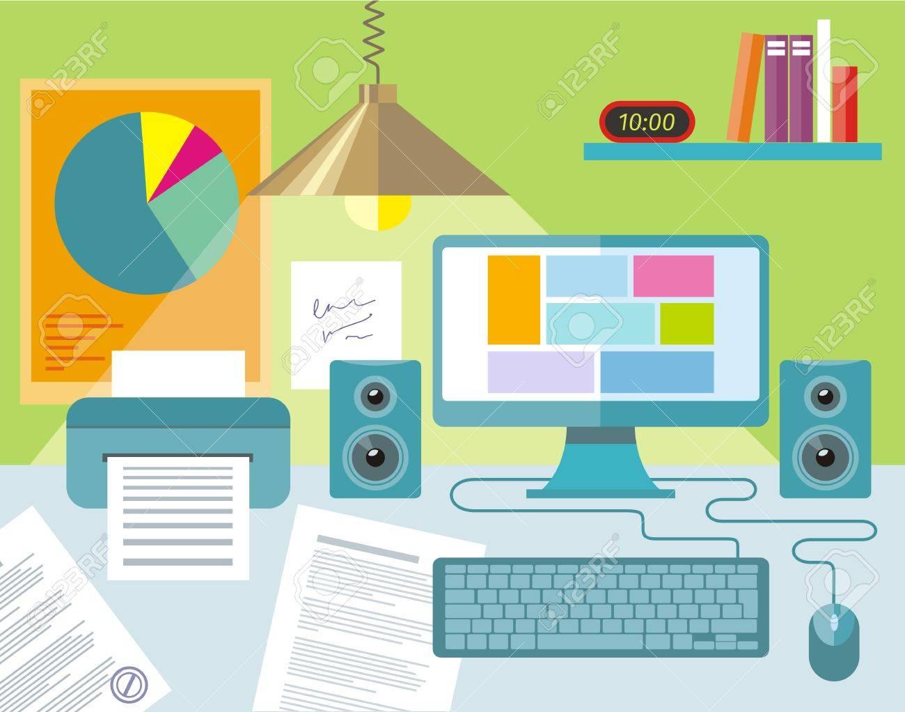 Flache Design Konzept Der Arbeitsbereich Mit Computer Notebook