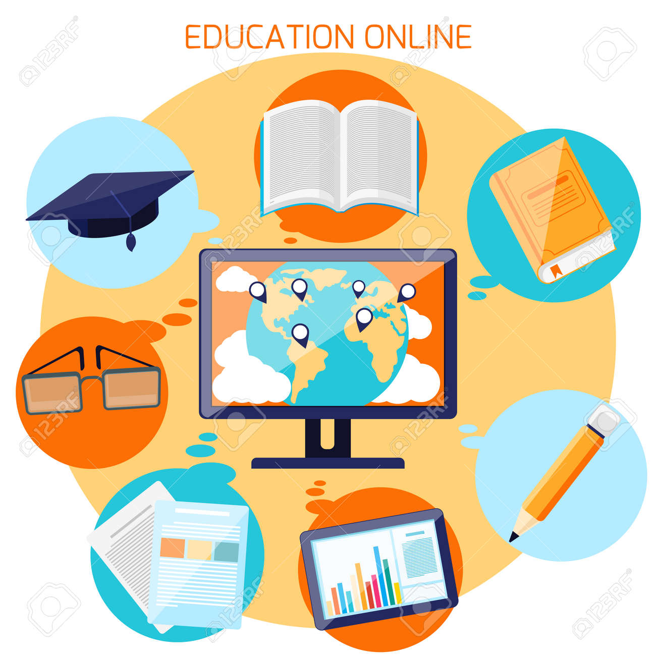 Concept For Online Education E Learning And Distance Professional Royalty Free Cliparts Vectors And Stock Illustration Image 34241106