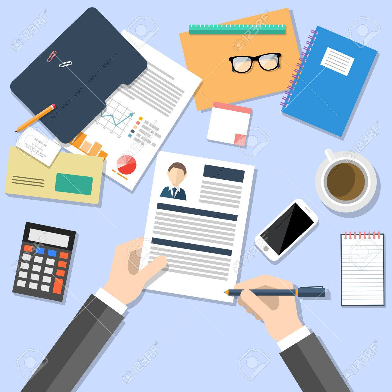 business concept for human resources manager top view of business concept for human resources manager top view of human hands holding cv analysing