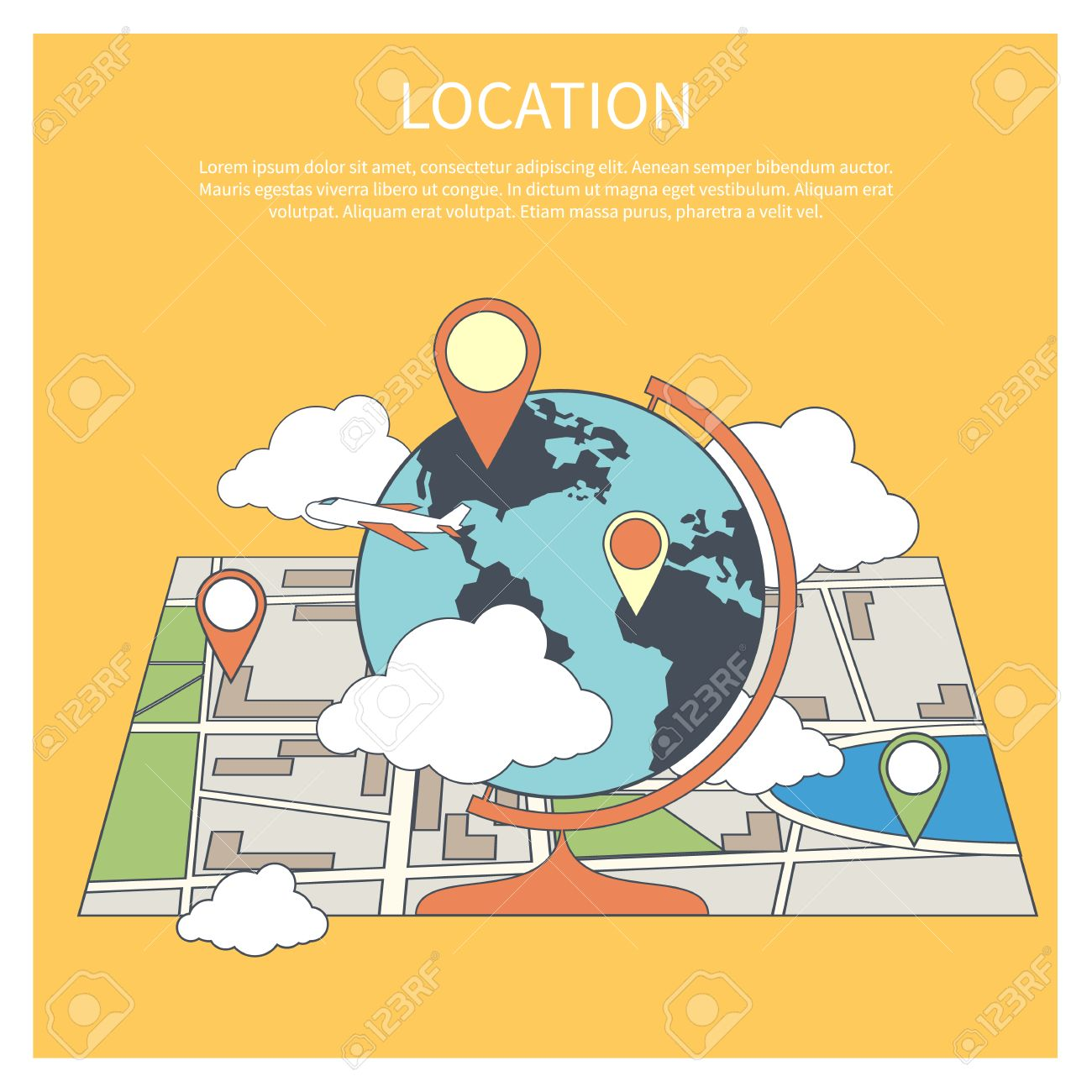 Location concept world map infographic in flat design style world map infographic in flat design style globe with pointers on map gumiabroncs Image collections
