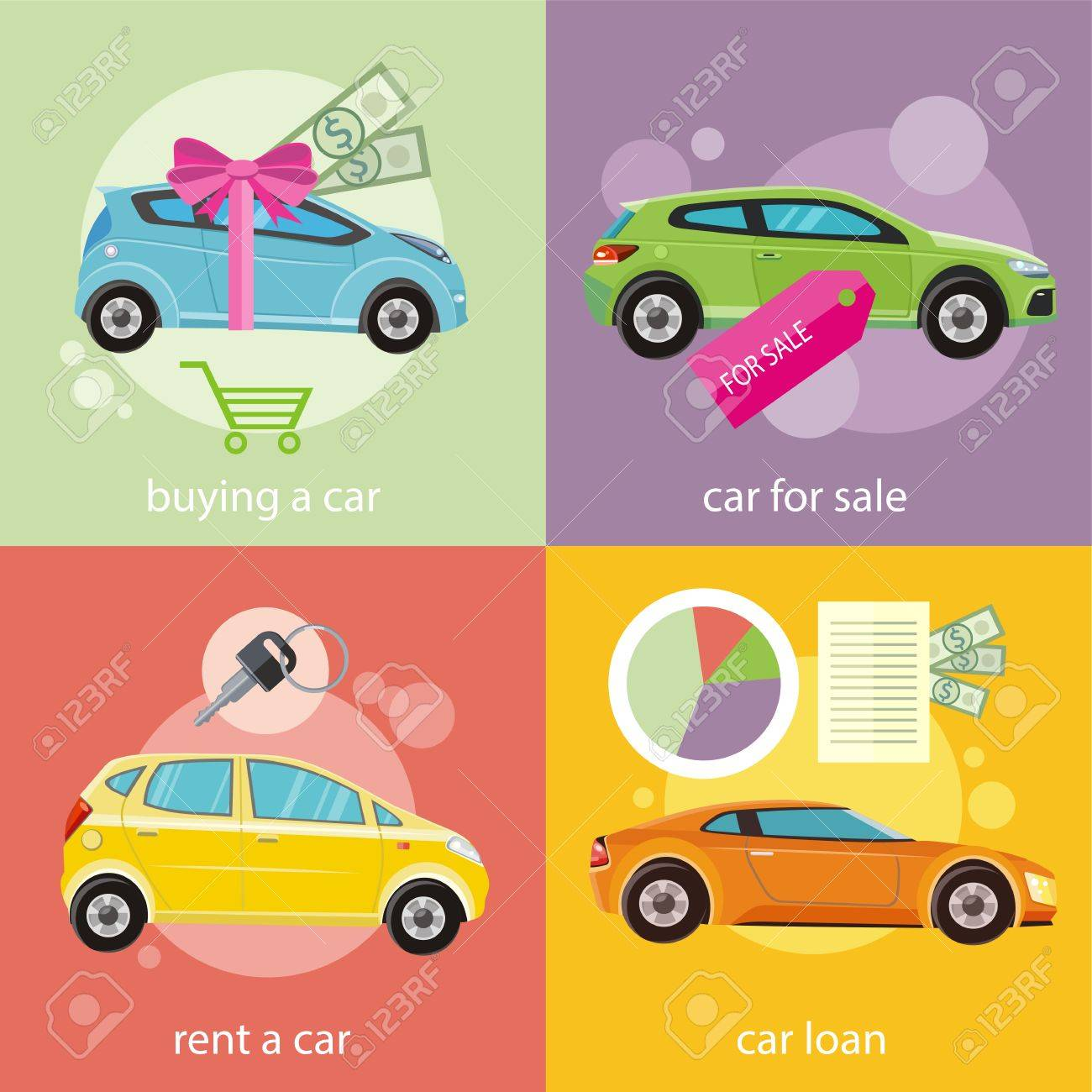 Car loan approved document with dollars money. Buying car concept. Gift car and red ribbon with dollars money. Car sale. Rent a car concept in flat design - 36874902