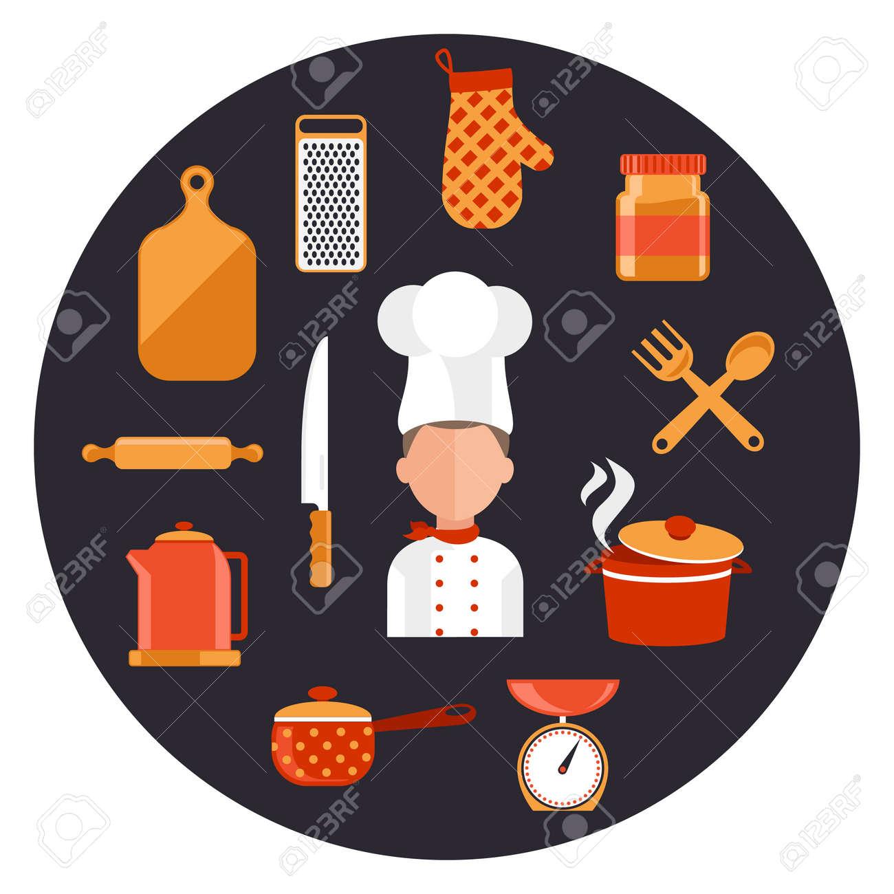 Iconos De Concepto De Diseño De Planos De Los Utensilios De Cocina ...