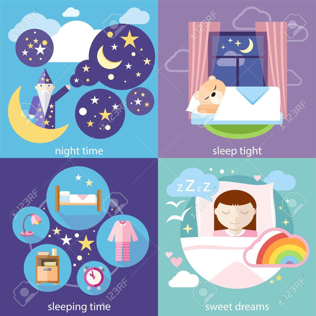 Bedroom at night time - Cartoon Night Time Bedroom Stock Illustration Sleep Tight