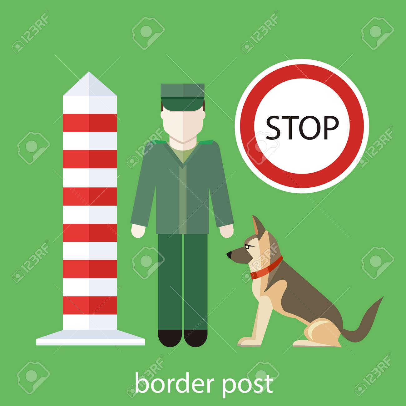 Control Personalizado Oficial. Funcionario De Aduanas Con El Perro ...