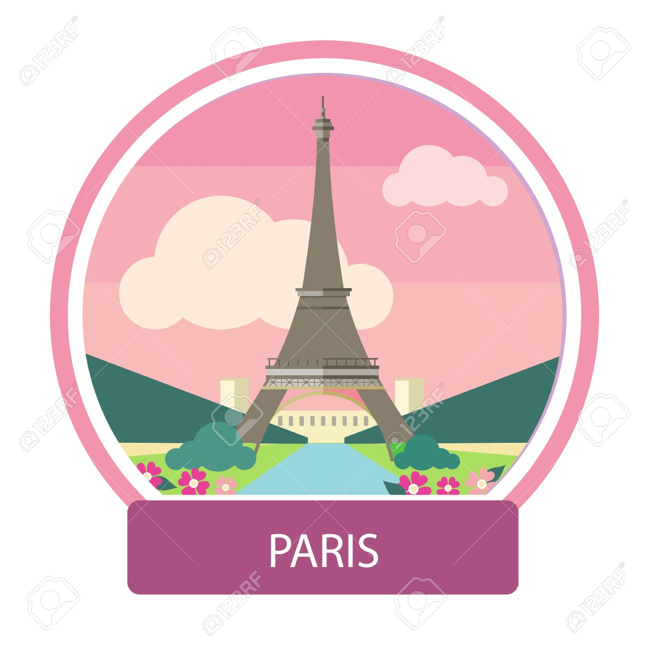 Eiffel Tower Paris France Poster Concept In Cartoon Style Royalty Free Cliparts Vectors And Stock Illustration Image 37403914