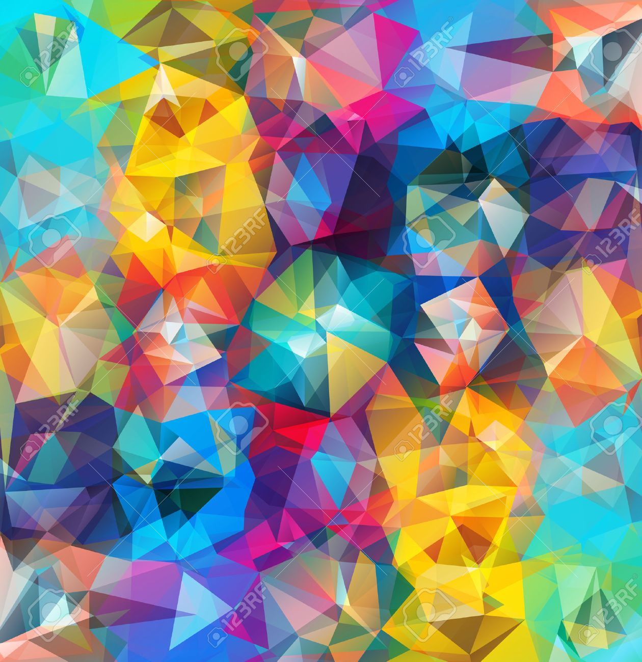 Abstract geometric background. Multicolored triangles. Beautiful inscription. Triangle background with bright lines. Pattern of crystal geometric shapes. Multicolor mosaic banner - 37403942