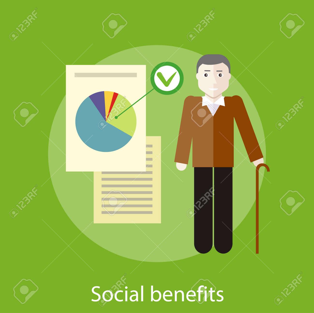Abuelos Guarros abuelo con los documentos de los beneficios sociales. concepto de estilo de  diseño plano. puede ser utilizado para la web banners, marketing y