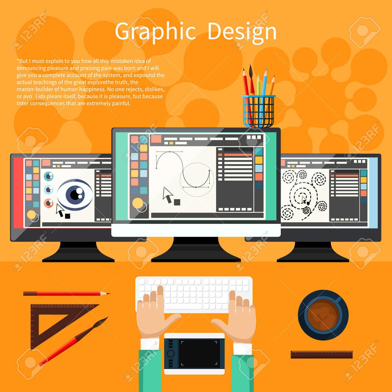 concept for graphic design designer tools and software in flat design with computer surrounded designer - Desk Design Software