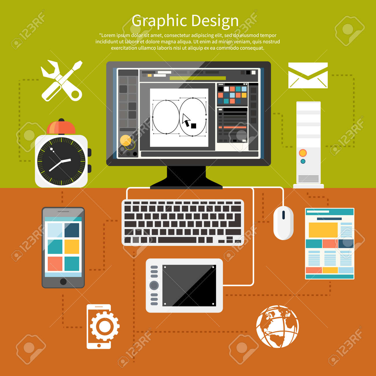 Concept For Graphic Design Designer Tools And Software In Flat With Computer Surrounded