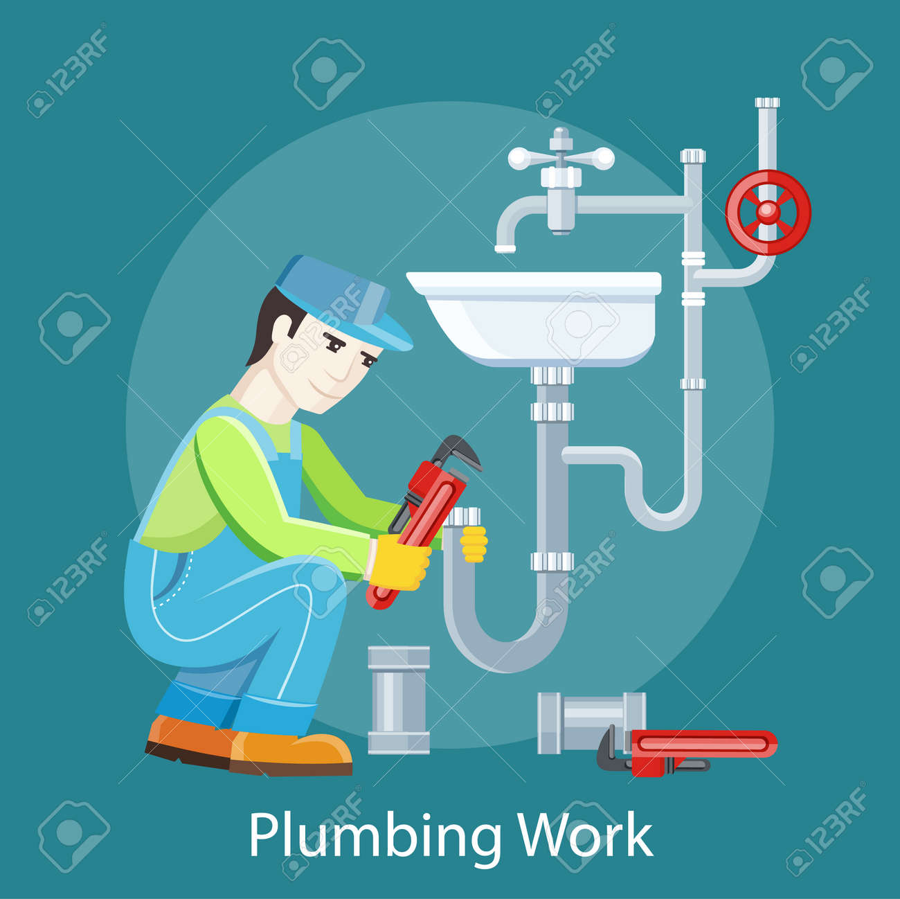 Plumbing Work Sanitary Works Plumber And Wrench Engineer Character Plumber Repairing A