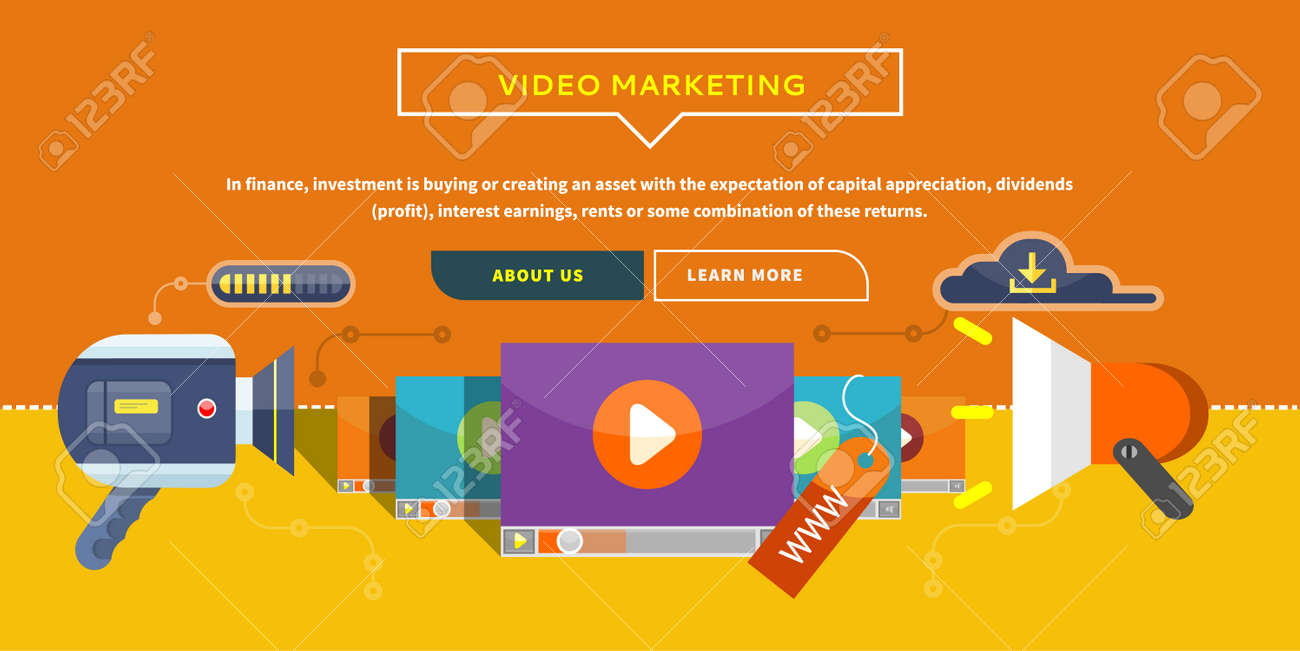Vector - Video Marketing. Approaches methods and measures to promote products and services based on video. Business concept for web banner presentation.