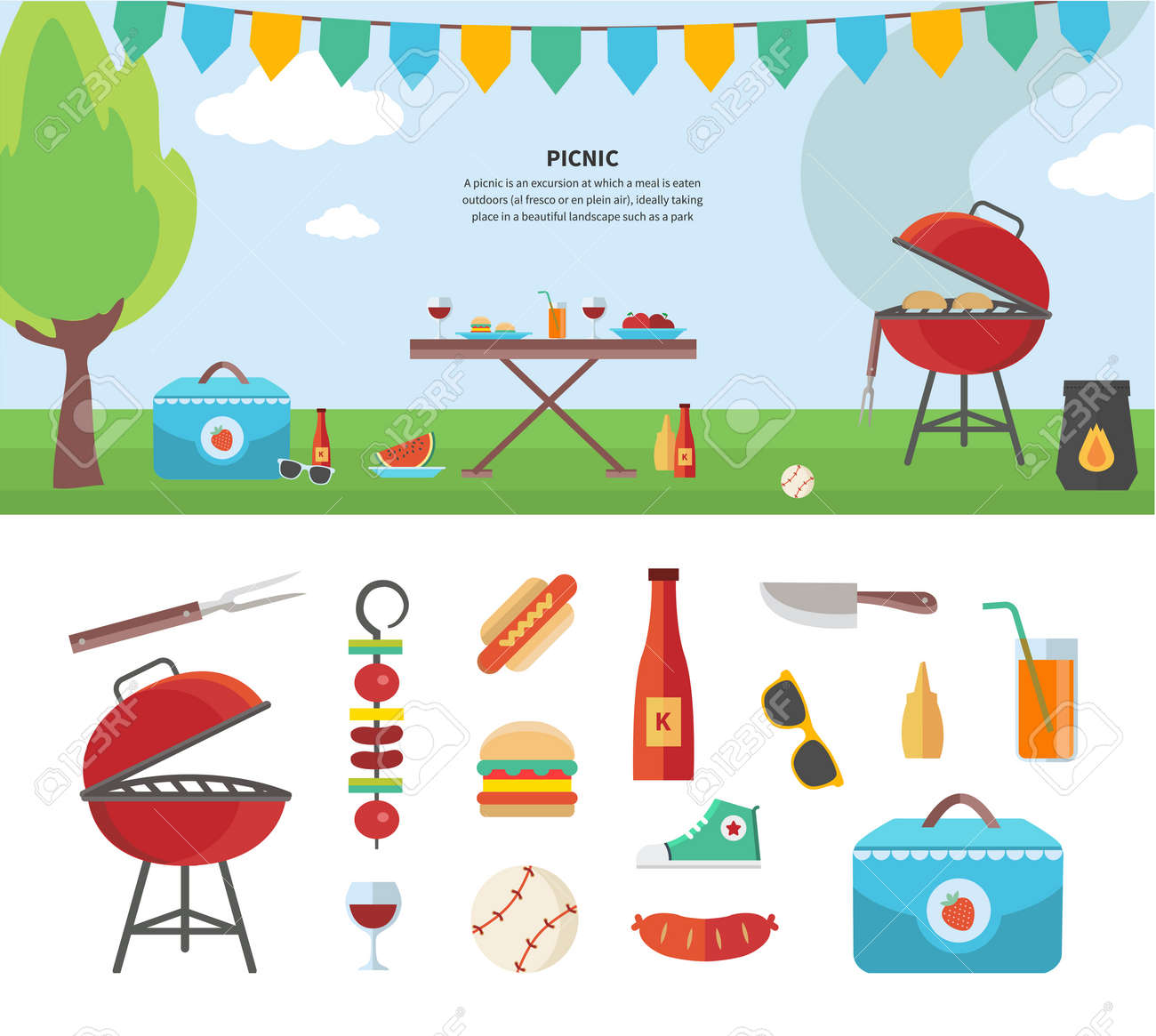 summertime holiday template picnic outdoor summer accessories summertime holiday template picnic outdoor summer accessories illustration and icon set flat design of