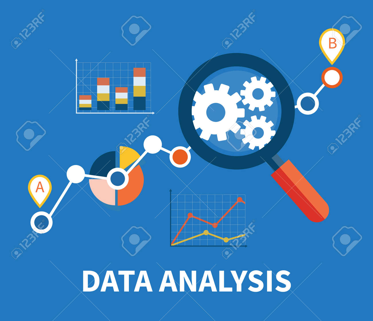 Banner with focused magnifying glass on gear and multicolored pie chart with name Data analysis on blue background. For web construction, mobile applications, banners, corporate brochures, layouts - 42814502