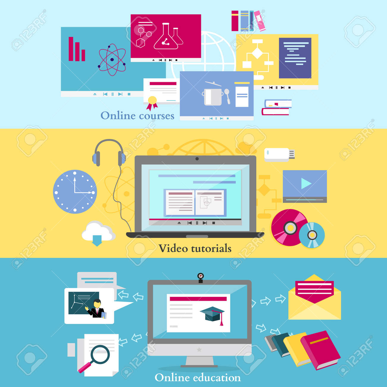 Concept of distance learning and education online tutorial and concept of distance learning and education online tutorial and video course research and graduation baditri Gallery