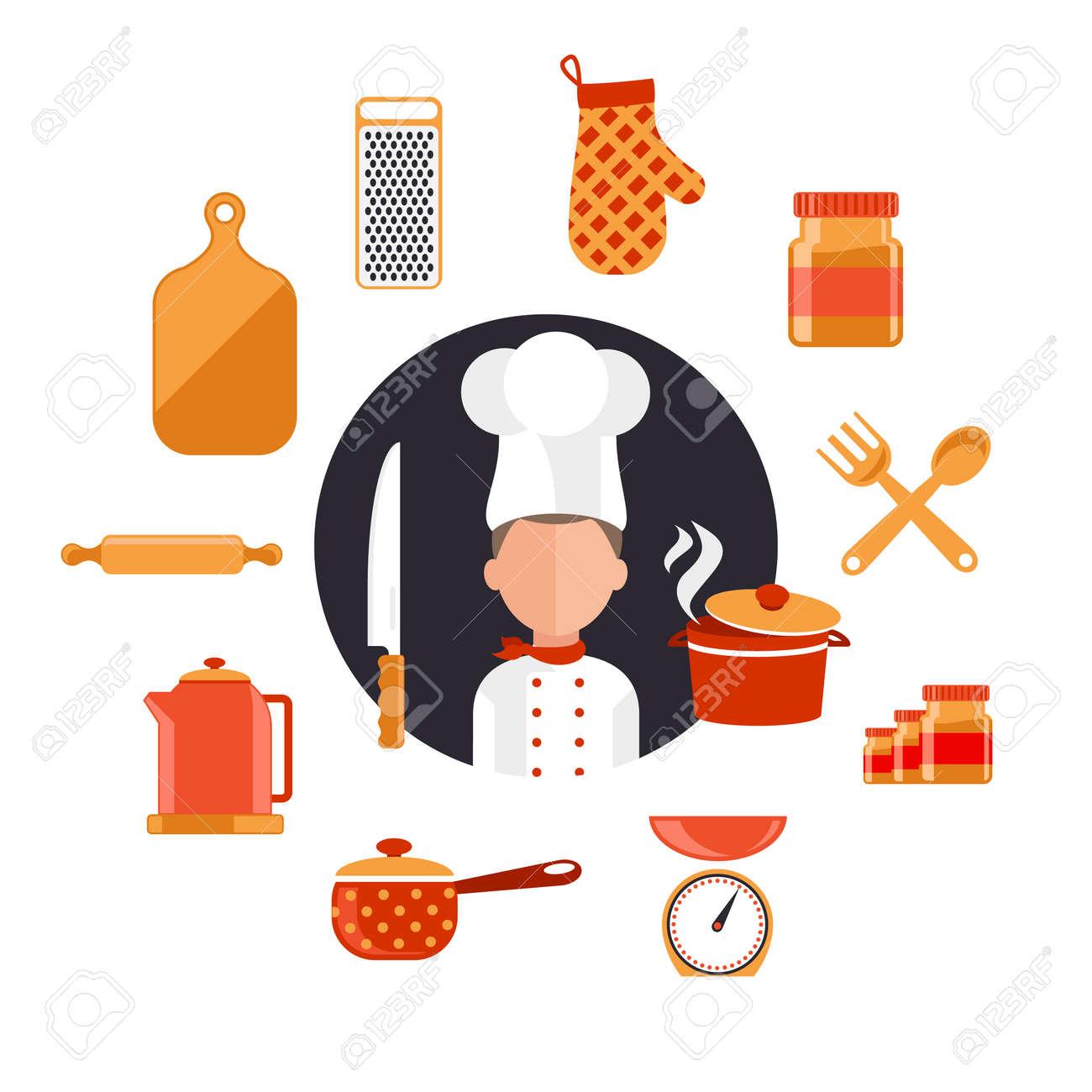 Iconos Del Concepto De Diseño Plano De Los Utensilios De Cocina Con ...