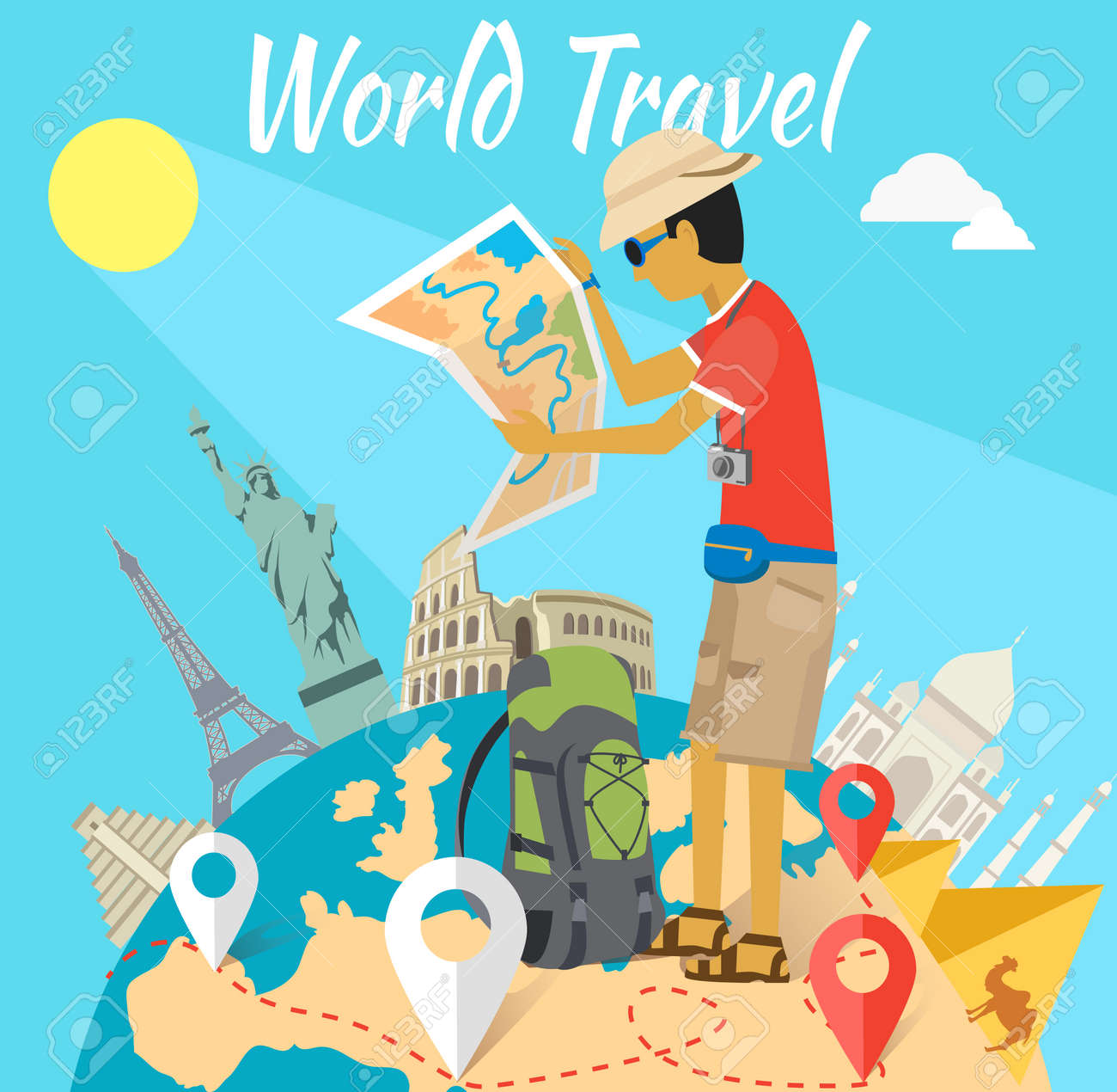 Concept of the world adventure travel. Relaxation journey, leisure and rest tourism, statue liberty, eiffel tower, colosseum and tourist with map, trip global tour illustration - 45480253