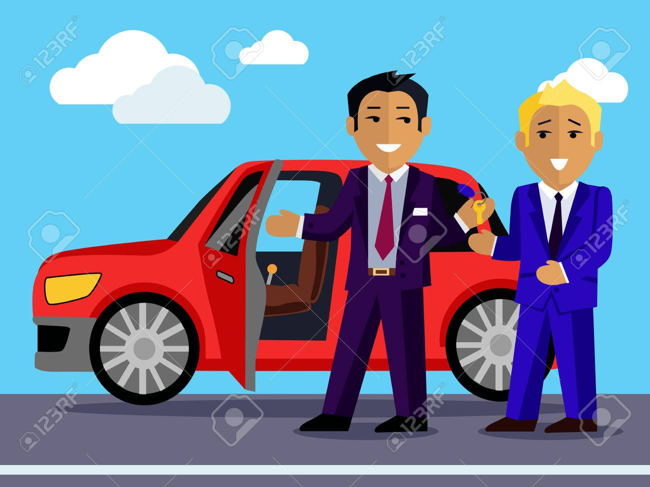 illustration of a man buys a new car automobile sale sell