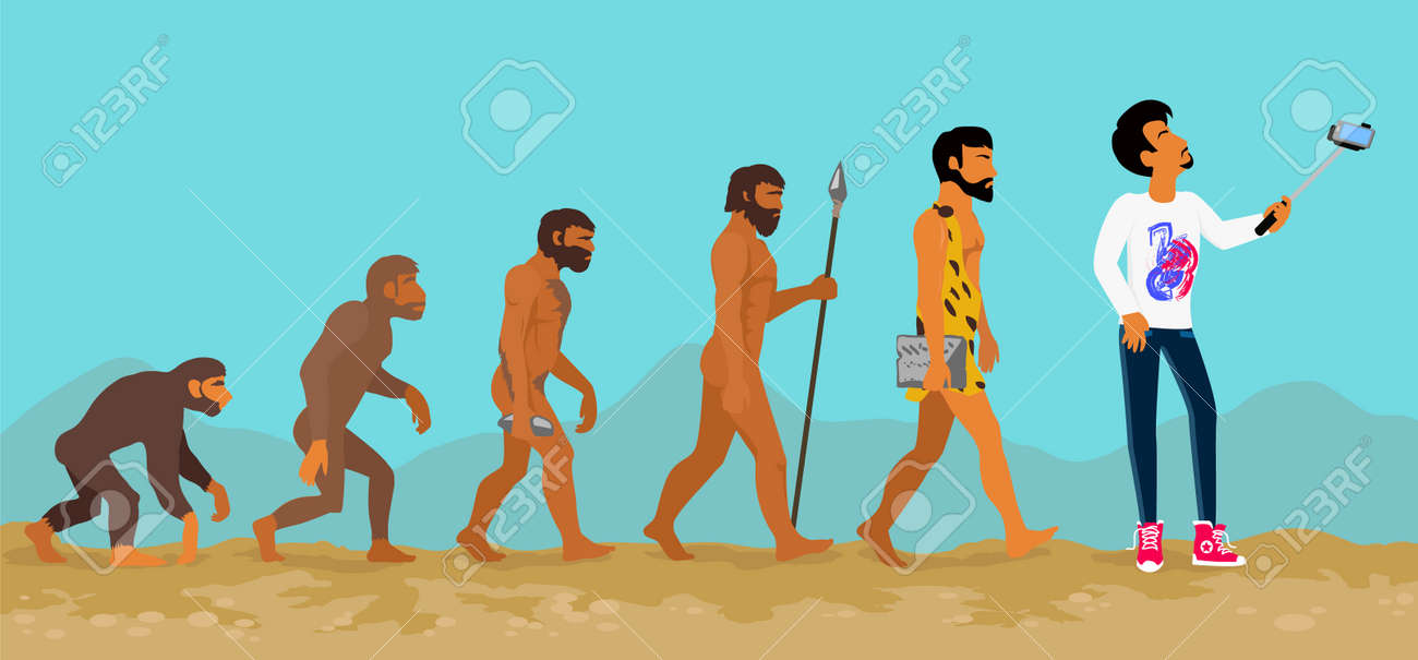 concept of human evolution from ape to man development progress